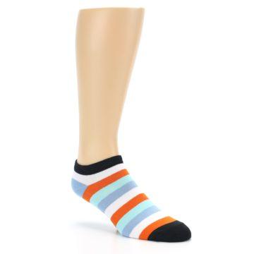 Image of Orange Blues Stripe Men's Ankle Socks (side-1-27)