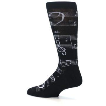 Image of Black White Music Notes Men's Dress Socks (side-2-13)