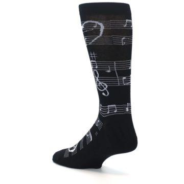 Image of Black White Music Notes Men's Dress Socks (side-2-back-14)