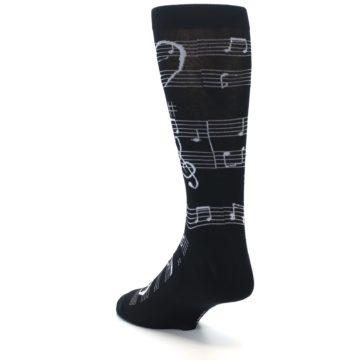 Image of Black White Music Notes Men's Dress Socks (side-2-back-15)