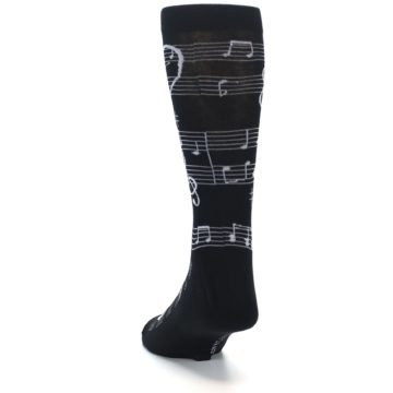 Image of Black White Music Notes Men's Dress Socks (side-2-back-16)