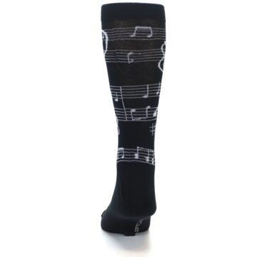 Image of Black White Music Notes Men's Dress Socks (back-17)