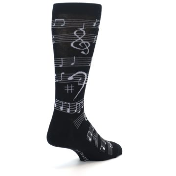 Image of Black White Music Notes Men's Dress Socks (side-1-back-21)
