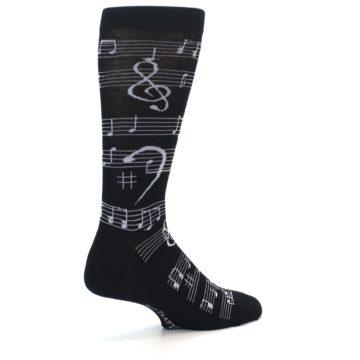 Image of Black White Music Notes Men's Dress Socks (side-1-back-22)