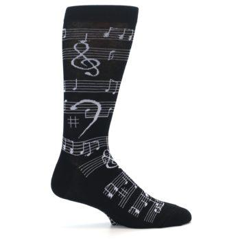 Image of Black White Music Notes Men's Dress Socks (side-1-24)