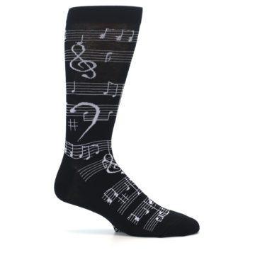 Image of Black White Music Notes Men's Dress Socks (side-1-25)