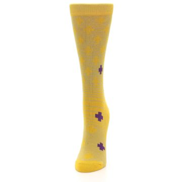 Image of Yellow Purple Positive Women's Dress Socks (side-2-front-06)