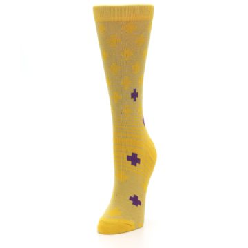 Image of Yellow Purple Positive Women's Dress Socks (side-2-front-07)