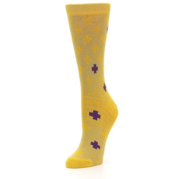 Image of Yellow Purple Positive Women's Dress Socks (side-2-front-08)