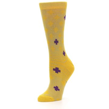 Image of Yellow Purple Positive Women's Dress Socks (side-2-09)