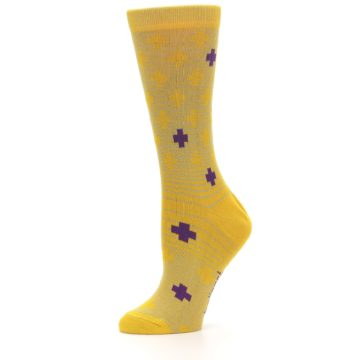 Image of Yellow Purple Positive Women's Dress Socks (side-2-10)