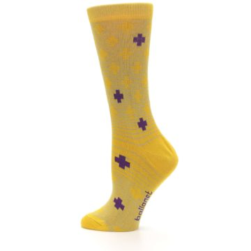 Image of Yellow Purple Positive Women's Dress Socks (side-2-12)