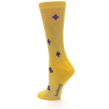Image of Yellow Purple Positive Women's Dress Socks (side-2-back-14)