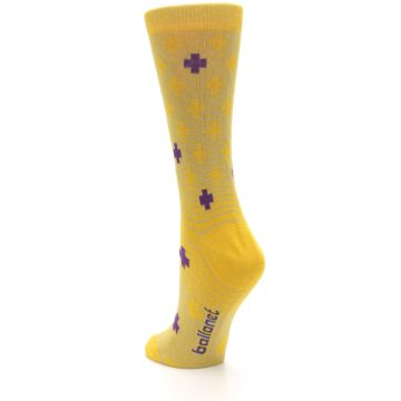 Image of Yellow Purple Positive Women's Dress Socks (side-2-back-15)