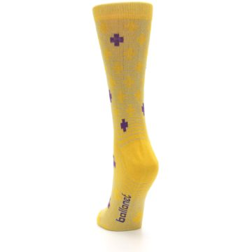 Image of Yellow Purple Positive Women's Dress Socks (side-2-back-16)