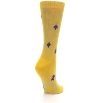 Image of Yellow Purple Positive Women's Dress Socks (side-1-back-21)