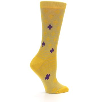 Image of Yellow Purple Positive Women's Dress Socks (side-1-24)
