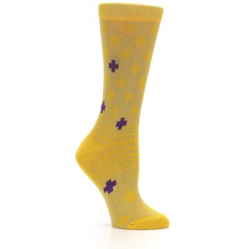 Image of Yellow Purple Positive Women's Dress Socks (side-1-26)