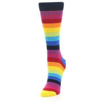 Image of Dark Multi Stripe Women's Dress Socks Socks (side-2-front-07)
