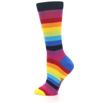 Image of Dark Multi Stripe Women's Dress Socks Socks (side-2-12)
