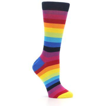 Image of Dark Multi Stripe Women's Dress Socks Socks (side-1-25)
