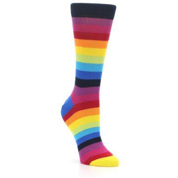 Image of Dark Multi Stripe Women's Dress Socks Socks (side-1-27)