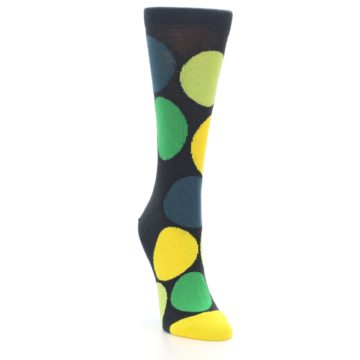 Image of Charcoal Green Yellow Circles Women's Dress Socks (side-1-front-02)