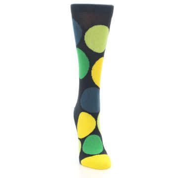 Image of Charcoal Green Yellow Circles Women's Dress Socks (side-1-front-03)
