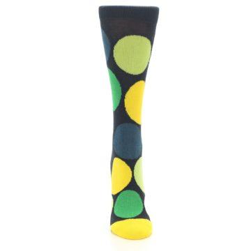 Image of Charcoal Green Yellow Circles Women's Dress Socks (front-04)