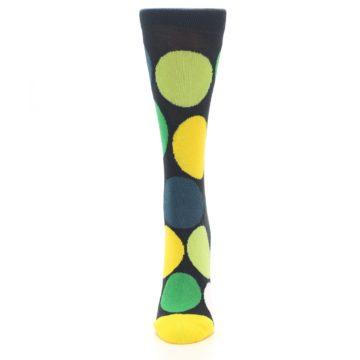Image of Charcoal Green Yellow Circles Women's Dress Socks (front-05)