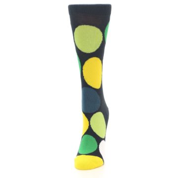 Image of Charcoal Green Yellow Circles Women's Dress Socks (side-2-front-06)