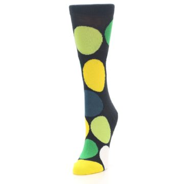 Image of Charcoal Green Yellow Circles Women's Dress Socks (side-2-front-07)