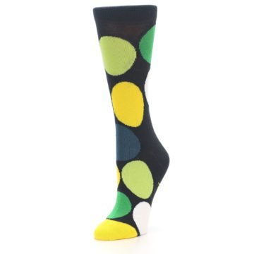 Image of Charcoal Green Yellow Circles Women's Dress Socks (side-2-front-08)