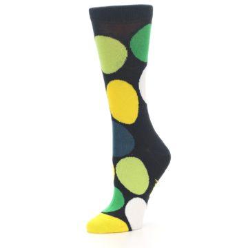 Image of Charcoal Green Yellow Circles Women's Dress Socks (side-2-09)