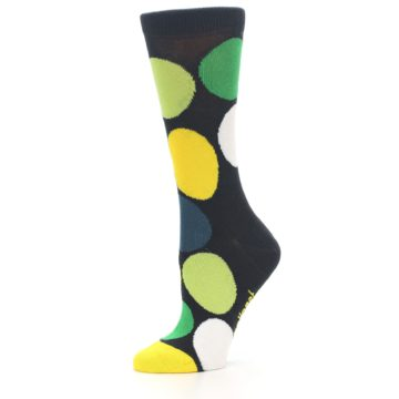 Image of Charcoal Green Yellow Circles Women's Dress Socks (side-2-10)