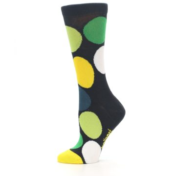 Image of Charcoal Green Yellow Circles Women's Dress Socks (side-2-11)