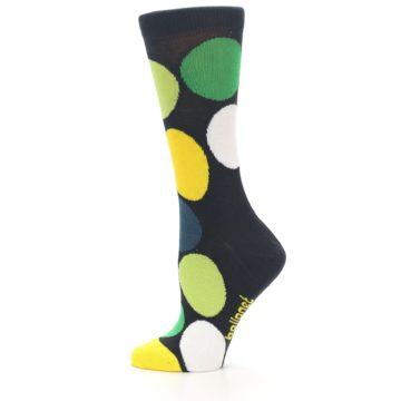 Image of Charcoal Green Yellow Circles Women's Dress Socks (side-2-12)