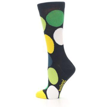 Image of Charcoal Green Yellow Circles Women's Dress Socks (side-2-13)