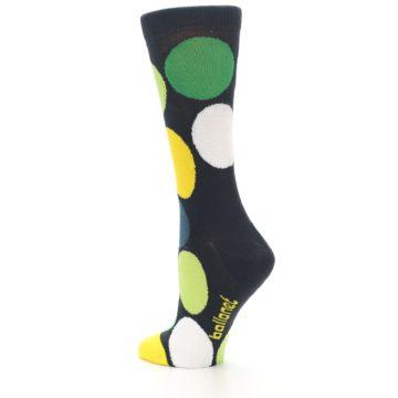 Image of Charcoal Green Yellow Circles Women's Dress Socks (side-2-back-14)