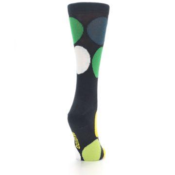 Image of Charcoal Green Yellow Circles Women's Dress Socks (side-1-back-20)