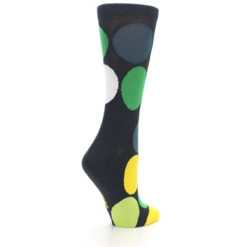 Image of Charcoal Green Yellow Circles Women's Dress Socks (side-1-back-22)