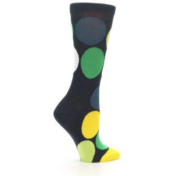Image of Charcoal Green Yellow Circles Women's Dress Socks (side-1-24)