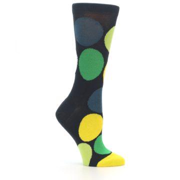 Image of Charcoal Green Yellow Circles Women's Dress Socks (side-1-25)