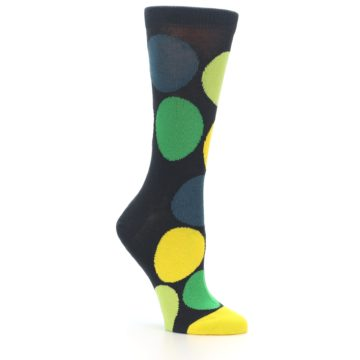 Image of Charcoal Green Yellow Circles Women's Dress Socks (side-1-26)