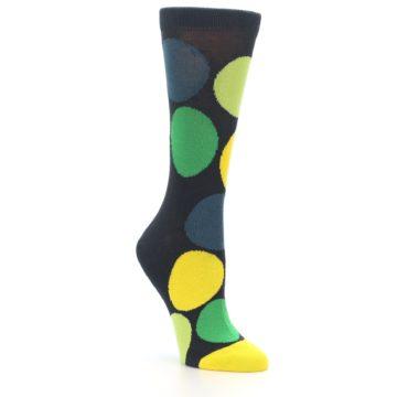 Image of Charcoal Green Yellow Circles Women's Dress Socks (side-1-27)