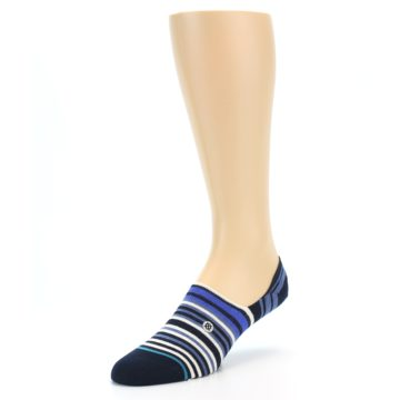Image of Blues White Stripe Men's Liner Socks (side-2-front-08)