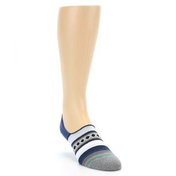 Image of Blue White Stripe Men's Liner Socks (side-1-front-02)