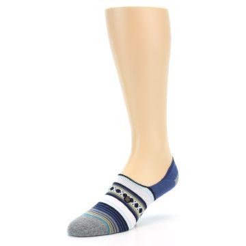 Image of Blue White Stripe Men's Liner Socks (side-2-front-08)