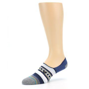 Image of Blue White Stripe Men's Liner Socks (side-2-09)