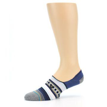 Image of Blue White Stripe Men's Liner Socks (side-2-10)